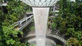 Der tropische Indoor-Regenwald mit Wasserfall