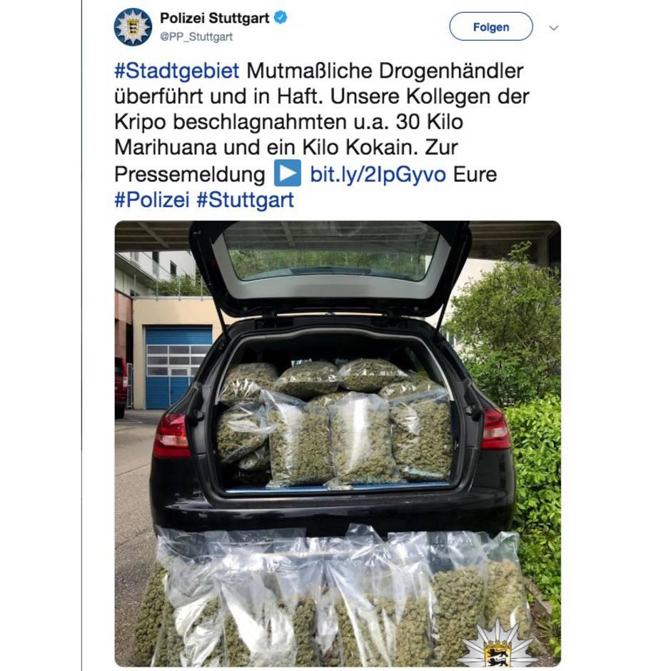 Missglückter Deal: Per Abschleppwagen in die Arme der Polizei: 30 Kilogramm Marihuana beschlagnahmt