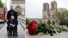 Der Rektor der Großen Moschee vonParis Dalil Boubakeur besucht am Tag nach dem Brand die Kathedrale Notre-Dame.