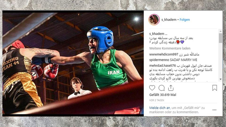 Ein Instagram-Post von Sadaf Khadems erstem offiziellen Wettkampf