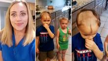 Junge rasiert seinen Geschwistern die Köpfe