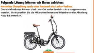 """Globus-Baumarkt veröffentlicht auf seiner Webseite einen Rückruf für E-Bike Modell """"Easy"""""""