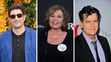 Was machen Jason Biggs, Roseanne Barr und Charlie Sheen (v.l.n.r.)eigentlich heute?