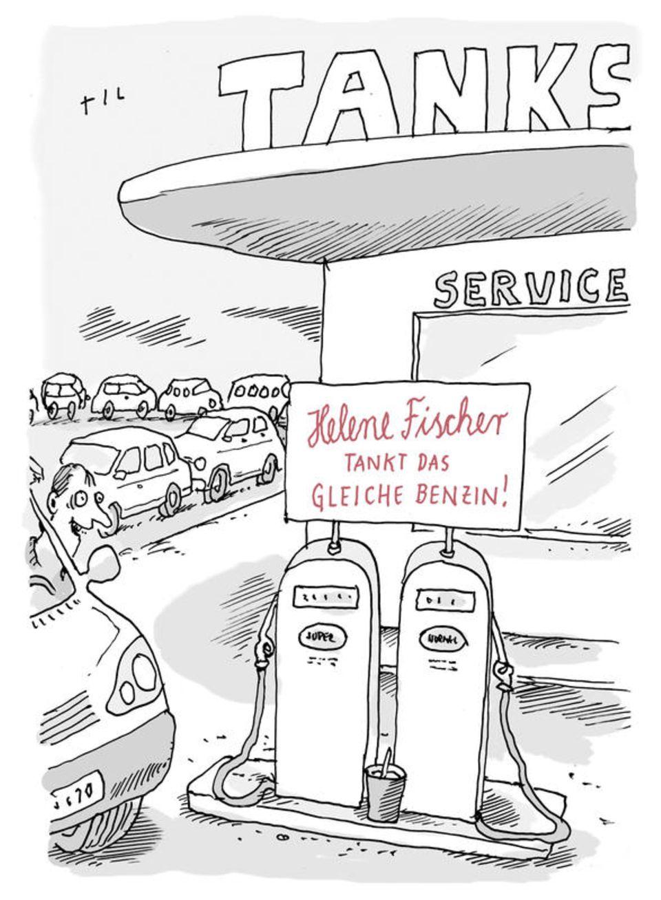 Auto-Cartoons: Was tankt eigentlich Helene Fischer?