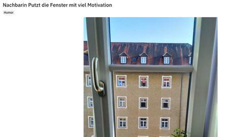 Nachbarin putzt Fenster
