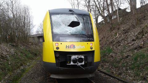Der beschädigte Zug bei Bad Berleburg