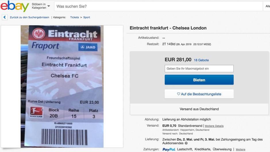 Altes Ticket Eintracht Frankfurt - FC Chelsea