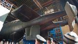 """184 Meter ist die """"Belgorod"""" lang. Als Mutterschiff soll der Gigant Mini-U-Boote und Unterwasserdrohnen transportieren. Er kann aber auch sechs Weltuntergangstorpedos vom Typ """"Poseidon"""" einsetzen.  Spionage und Weltuntergangs-Torpedos – Russland lässt das größte Atom-U-Boot der Welt vom Stapel"""