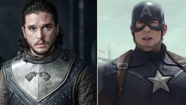 """Links Jon Schnee aus """"Game of Thrones"""", rechts Captain America aus den """"Avengers""""-Filmen: Helden aus den beiden größten Fantasy-Universen müssen an diesem Wochenende gegen ihre Feinde kämpfen."""