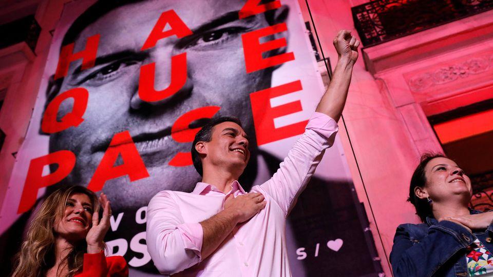 Ministerpräsident Pedro Sánchez nach dem Wahlsieg
