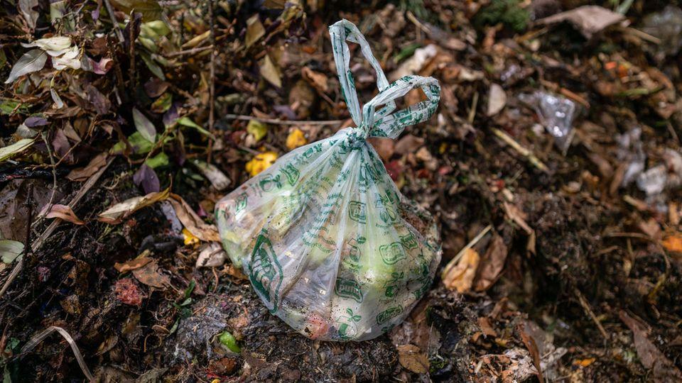 Eine kompostierbare Kunststofftüte