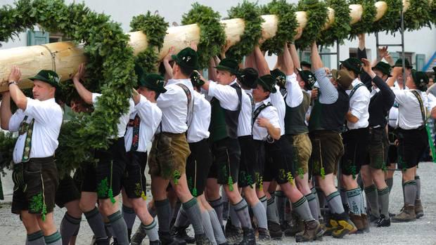 Männer in Trachten stellen einen Maibaum auf