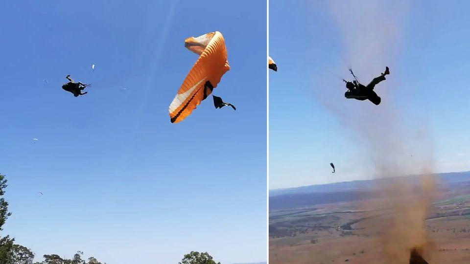 Staubteufel weht Paraglider weg