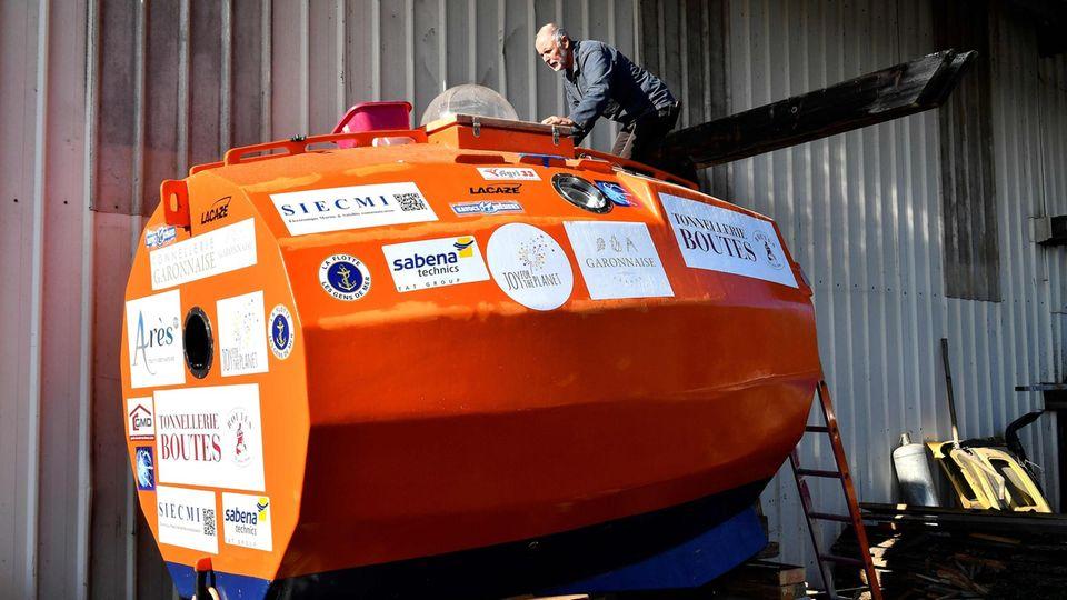 Mit diesem Gefährt gelang Savin die Reise über den Atlantikin 122 Tagen und neun Stunden