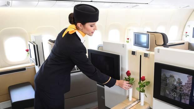 In einer First-Class-Kabine der Lufthansa