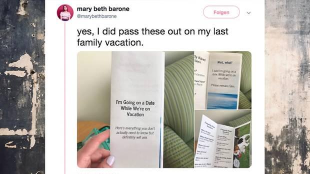 Mary Beth Barone wartet nicht, bis ihre Familie unangenehme Fragen zu ihrem Date stellt –sie verteilteinen FAQ-Flyer