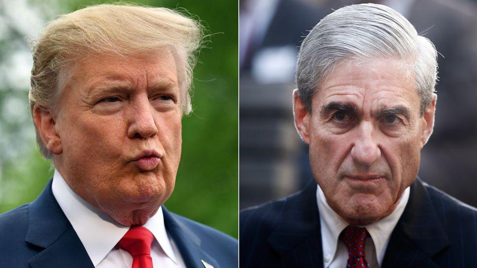 """""""Bob Mueller sollte nicht aussagen"""": US-Präsident Donald Trump (l.) über Sonderermittler Robert Mueller"""