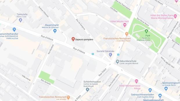 Ein Kartenauschnitt zeigt eine Feuerwache im Zentrum von Paris