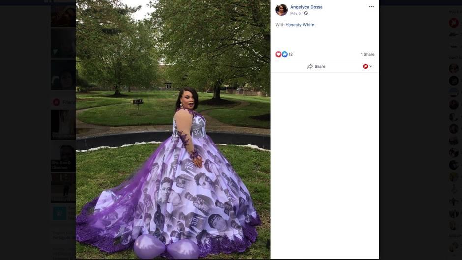 Eine 16-Jährige trägt ein lilafarbenes Ballkleider, das mit Fotos ihres Bruders bedruckt ist