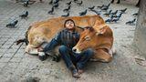 """Kathmandu (Nepal), 2013. Welche Aktivität wird von Menschen aller Kulturen auf unserem Planeten geteilt? Diese Frage sollte das bestimmende Thema eines neuen Buchprojektes werden, wie Schwester Bonnie McCurry schreibt. Beim Durchkämmen der Archive hat sich das Thema, das auf diesem Bild zu sehen ist, gewissermaßen aufgedrängt: Schlaf. """"Wir entdeckten, dass wir übereine große Bildauswahl von schlafenden Menschen verfügen"""", so Bonnie.Warum auch nicht?""""Wir verschlafen ein ganzes Drittel unseres Lebens – es ist also klar, dass wir während dieser Zeit eine wichtige 'Arbeit' verrichten."""" Schlaf sei weniger ein Luxusdenn eine Notwendigkeit."""