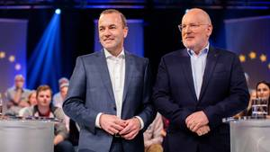 Manfred Weber und Frans Timmermans in der Wahlarena