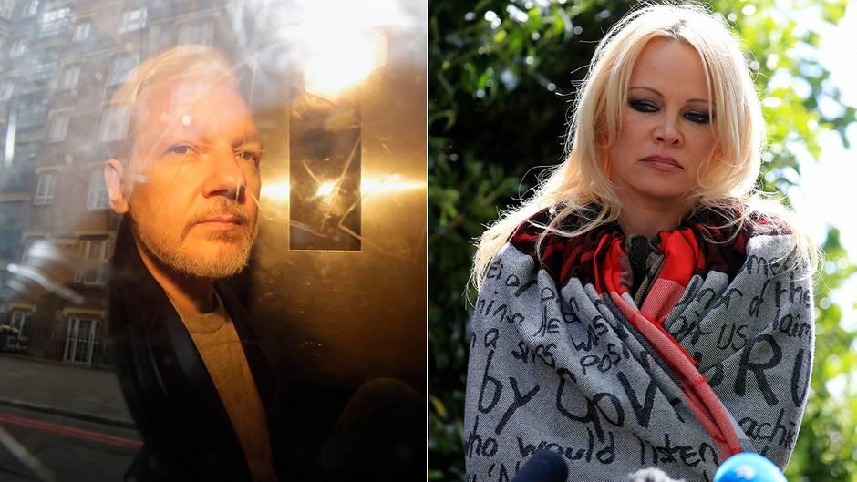 """Schauspielerin bei Wikileaks-Grüner: Pamela Anderson bei Assange: """"Wir müssen sein Leben retten, so ernst ist es."""""""