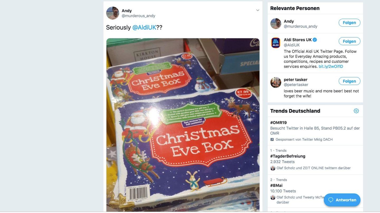 Weihnachtsverpackung bei Aldi