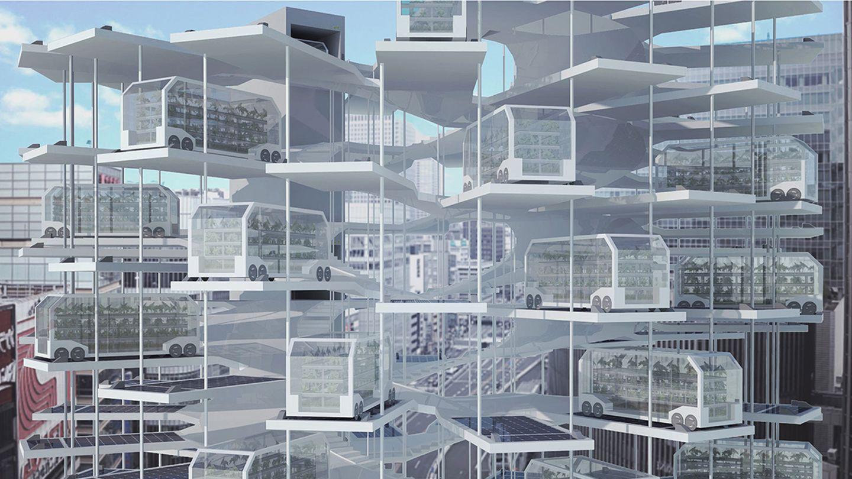 Lobende Erwähnung:Tony Leung, Hong Kong  Vertikale Ladestation für autonome Fahrzeuge der besonderenArt: Diese mobilen Gewächshäuser pendeln zwischen Farmern und Verbrauchern.