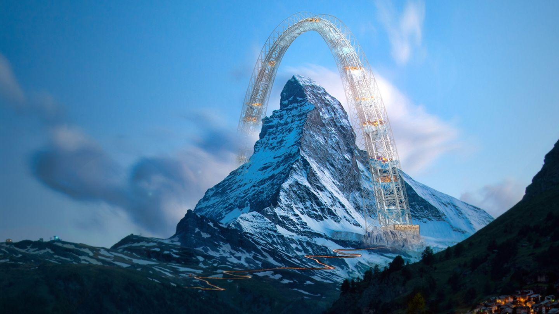 """Lobende Erwähnung:Romain Josue, Corentin Fraisse, Frankreich  In den letzten zwanzig Jahren hat sich durch die Klimaerwärmung die Permafrostgrenze in den Alpen immer weiter nach oben verschoben und zu mächtigen Erdrutschen geführt. Das Matterhorn an der schweizerisch-italienischen Grenze ist ein Symbol für diese Veränderungen. Der """"Arch"""" soll die Grenze zwischen der Schweiz und Italien überschreiten, steht Besuchern offen und soll """"die Einheit zwischen Mensch und Natur wiederentdecken"""", sagen die Macher."""