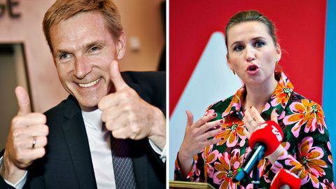 Die Spitzenkandidaten Kristian Thulesen Dahl (Dansk Folkeparti, l.) und Mette Frederiksen (Sozialdemokraten, r.)