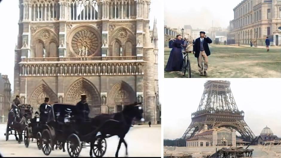 Paris vor fast 130 Jahren: Eiffelturm, diverse Personen, Kutschen