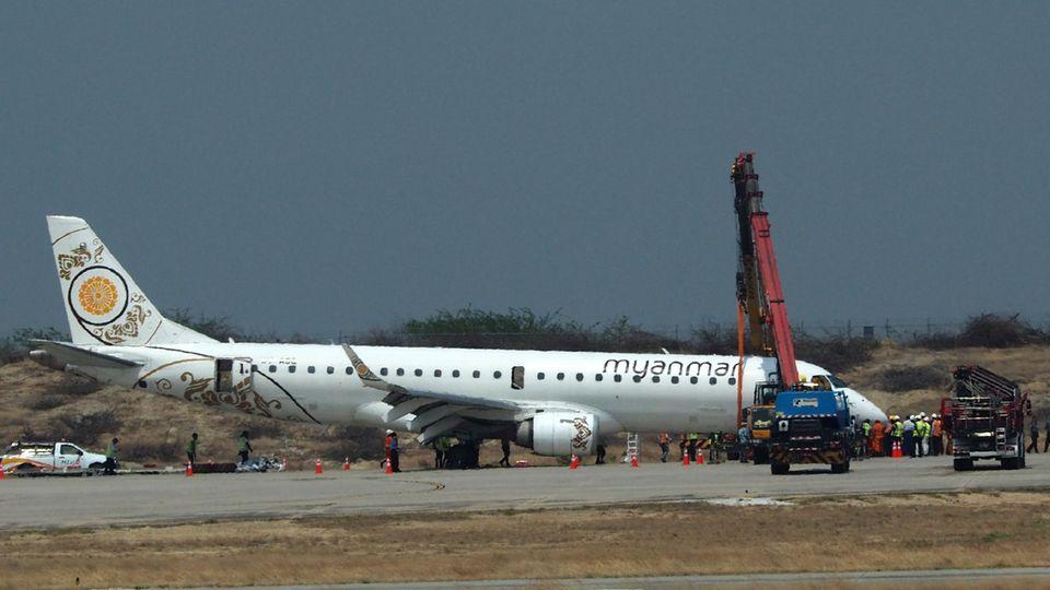 Myanmar Airlines: Pilot legt mit Flugzeug eine Bauchlandung hin