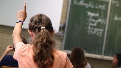 Eine Schülerin (von hinten zu sehen) meldet sich im Unterricht