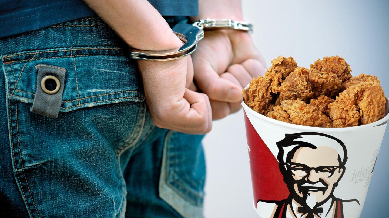 Mann in Handschellen und KFC