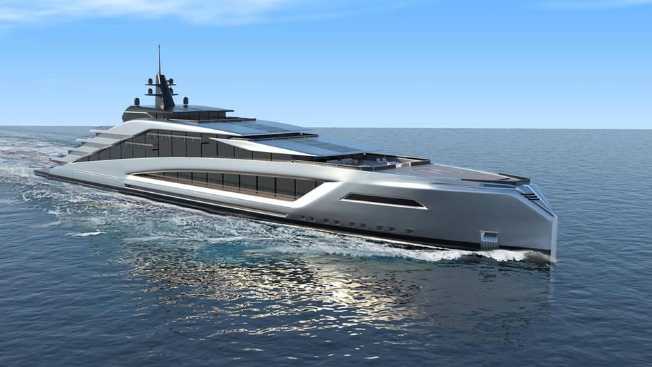 So wird die Mega-Yacht aussehen: Erste Renderings des Designers Kurt Strand zeigen die schnittige Linienführung des Schiffes.