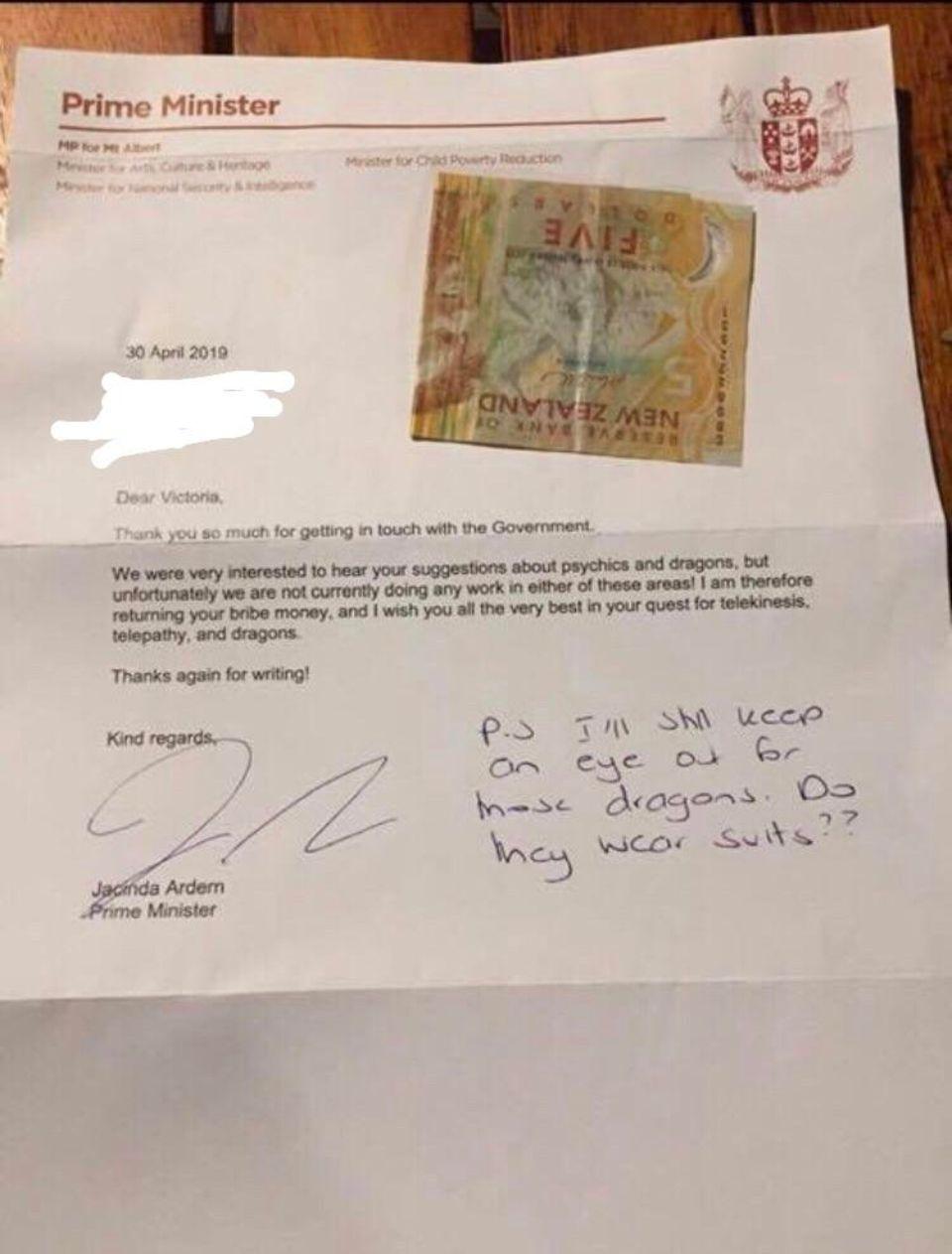 Brief von der Ministerin an Victoria