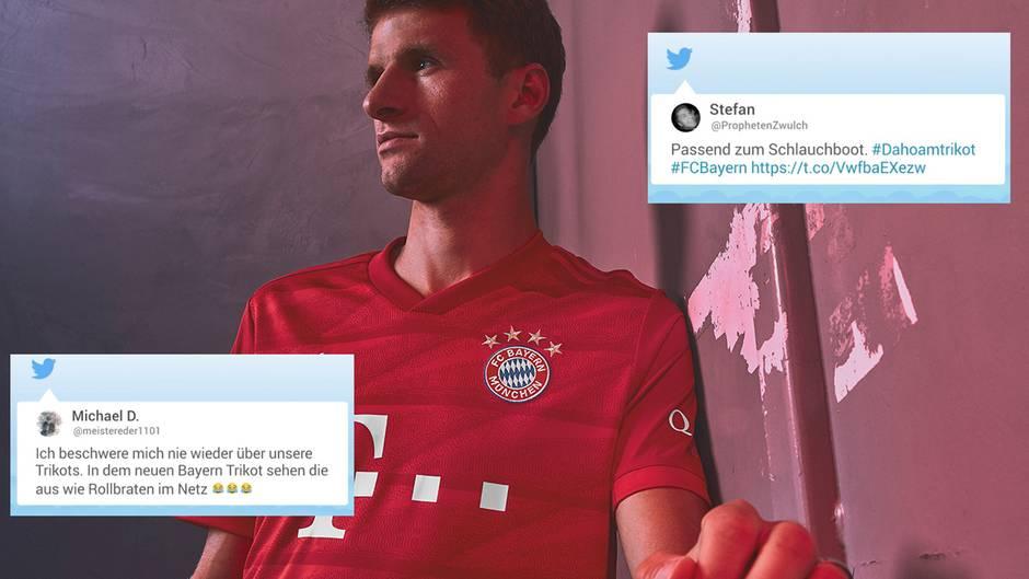 """Twitter-Reaktionen: """"Wie Rollbraten im Netz"""" – Twitter-User lästern über neue Bayern-Trikots"""