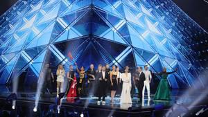 Nach dem zweiten Halbfinale stehen die Finalisten des Eurovision Song Contest 2019 in Tel Aviv, Israel, auf der Bühne.