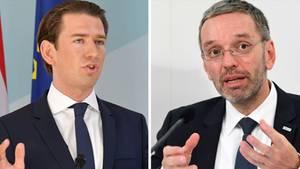 Bundeskanzler Kurz und Innenminster Kickl (r.)