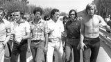 Niki Lauda (ganz links) mit Jody Scheckter, Graham Hill, Emerson Fittipaldi und James Hunt
