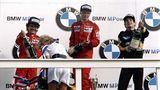 Lauda bei der Siegerehrung zum großen Preis von Holland