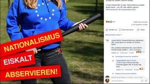 """Der Facebook-Post der Berliner Jusos: Eine Frau mit Europa-Pulli, Baseballschläger. Text: """"Nationalismus eiskalt abservieren"""""""""""