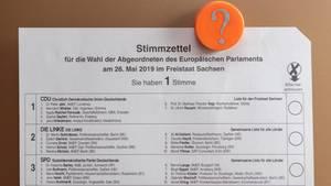 Europawahl - Stimmzettel für die Wahl des EU-Parlaments