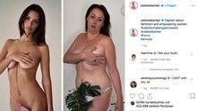 Ein Bild zeigt zwei fast nackte Frauen in identischer Pose: links Emily Ratajkowski, rechts Celeste Barber
