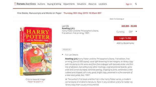"""Auktion: 30.000 Pfund für diese Ausgabe """"Harry Potter und der Stein der Weisen"""""""