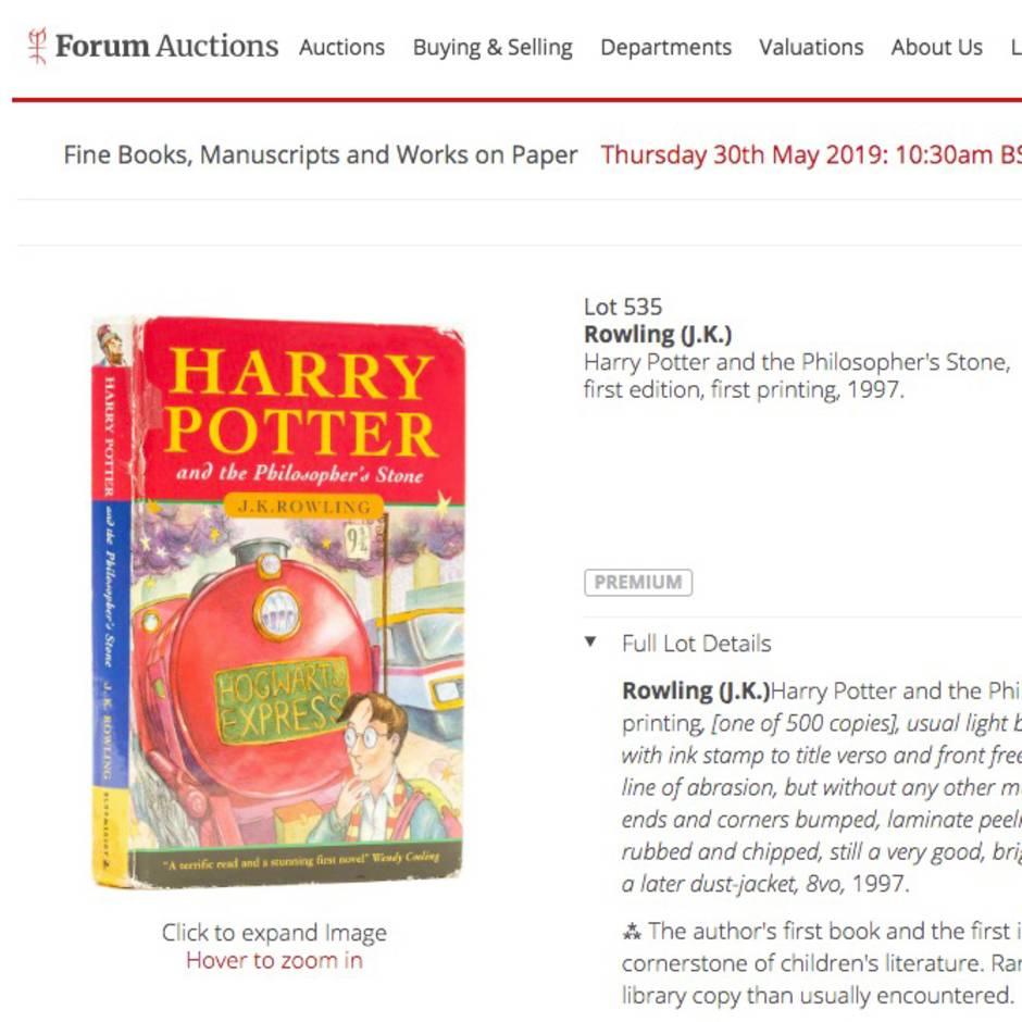 """Versteigerung bei """"Forum Auctions"""": Diese Ausgabe von """"Harry Potter und der Stein der Weisen"""" soll 30.000 Pfund wert sein"""