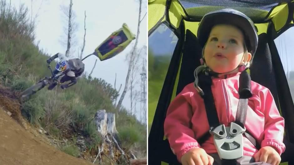 Video geht viral: Bekannter Fahrradakrobat soll babysitten – und nimmt die kleine Daisy kurzerhand mit auf Tour