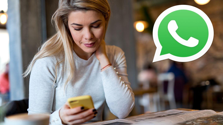 Frau mit Handy, Whatsapp Logo