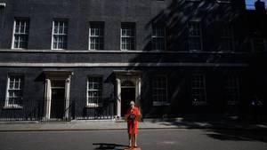 Theresa May bei ihrem Statement am Freitag. Ihr Rückzug war erwartet worden - aber er fiel ihr sichtlich schwer.