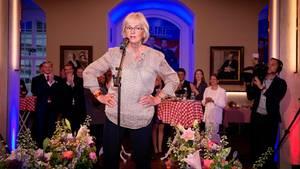 Die Spitzenpolitikerin der Dänischen Volkspartei, Pia Kjærsgaard, spricht während des Wahlabends